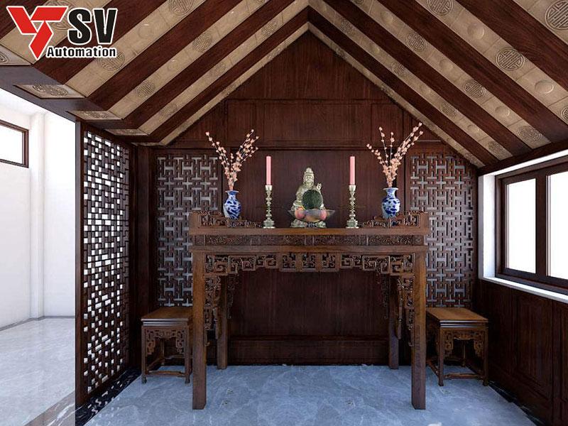 Mẫu vách ngăn phòng thờ màu nâu gỗ đậm giúp không gian thêm ấm cúng