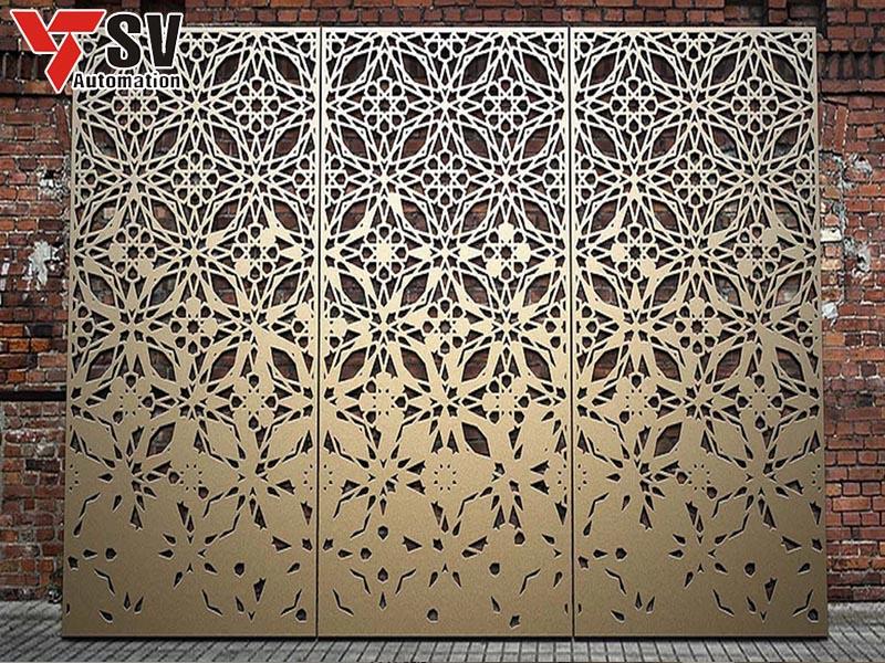 Một mẫu panel Inox được khắc bằng Laser