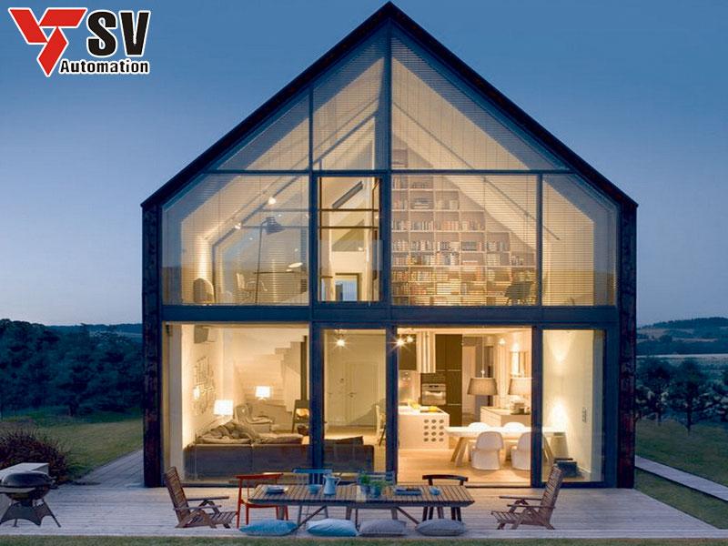 Mẫu nhà thép tiền chế 2 tầng với mái hình tam giác