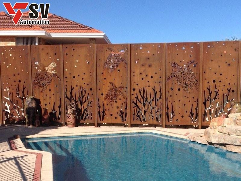 Mẫu vách ngăn kim loại được sơn phủ màu gỗ